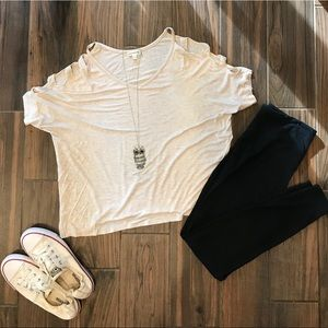 Cream color top with cut out sleeves